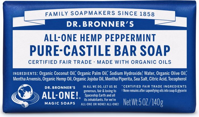 Dr Bron M Soap Org Bar 5Oz/140Gm Peppermint Obpe05