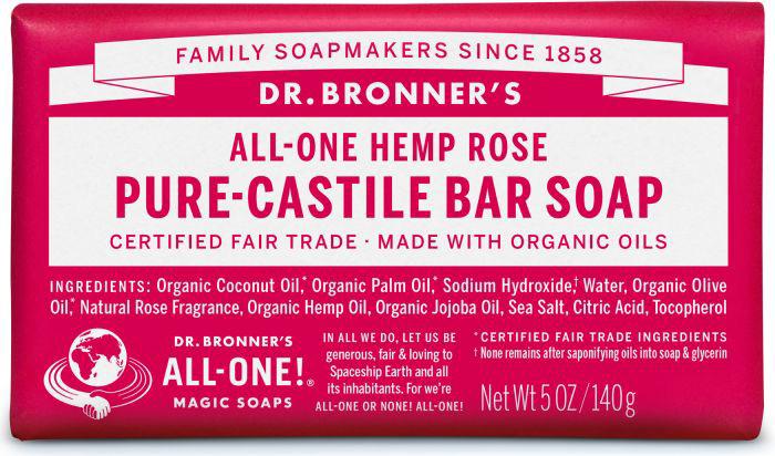 Dr Bron M Soap Org Bar 5Oz/ 140Gm Rose Obro05