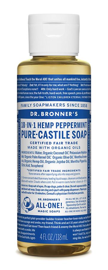 Dr Bron M Soap Org Liq Peppermint 4Oz/118Ml#Olpe04