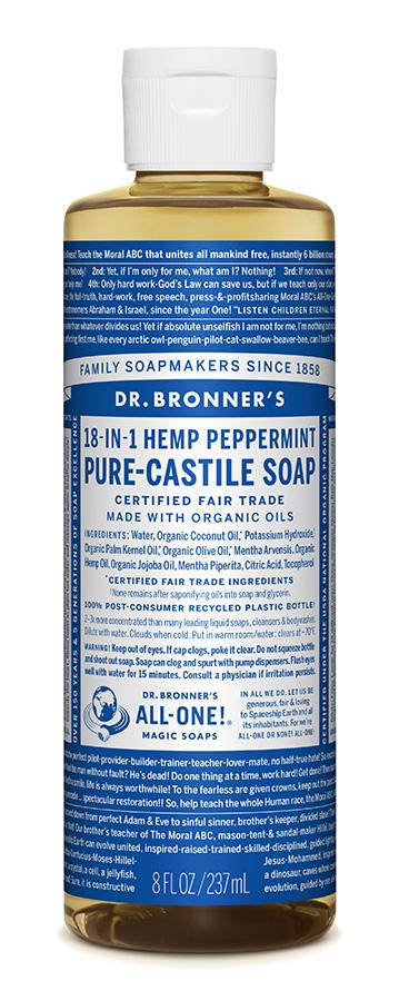 Dr Bron M Soap Org Liq Peppermint 8Oz/237Ml Olpe08