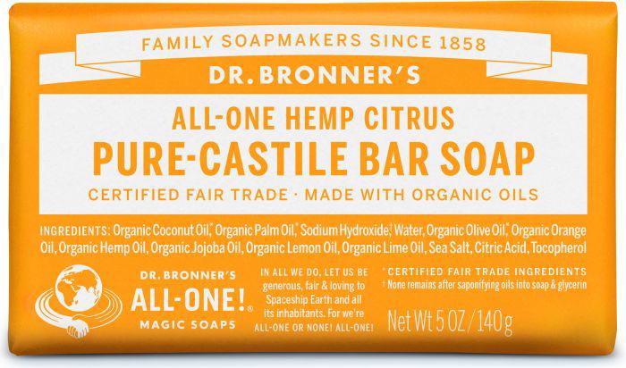 Dr Bron M Soap Org Bar 5Oz/ 140Gm Citrus Orange Obct05