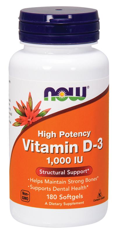 Now Vitamin D-3 1000Iu 180Softgels