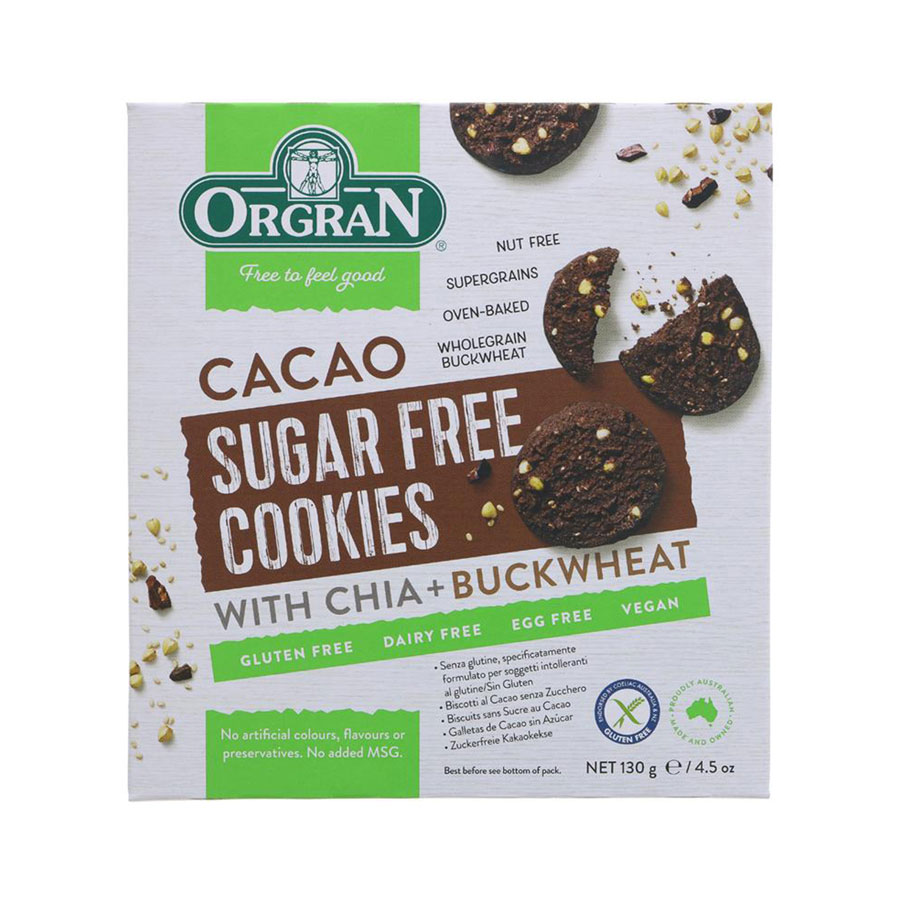 Orgran S/F Cacao Cookies With Chia+B/Wheat 130G
