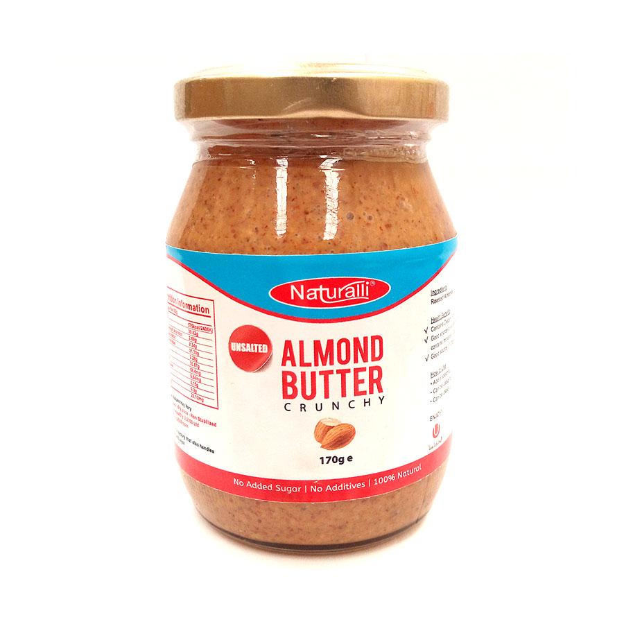 Naturalli Unsalted Almond Butter Crunchy–170Gm