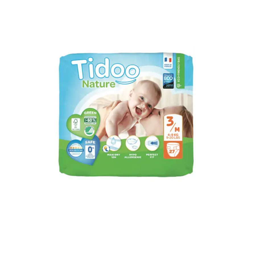 Tidoo Nature New Born Diapers 3/M 4-9Kg 27'S